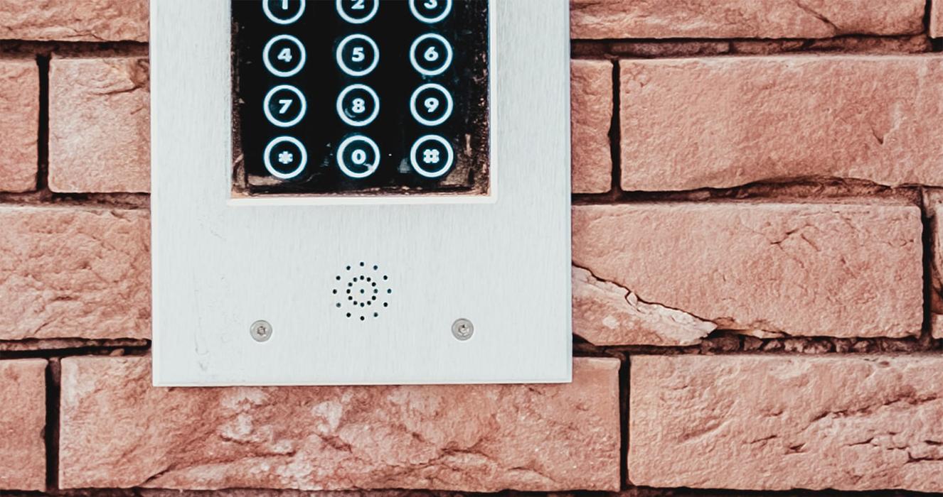 Intercom on brick wall